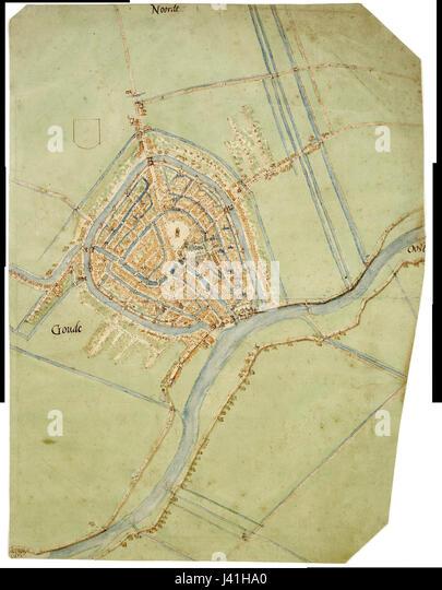Map Gouda Jacob Van Deventer Stock Photos Map Gouda Jacob Van