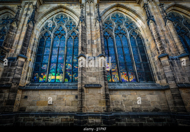 Light From The Interior Of St Vitus Cathedral In Prague Illuminating Stained Glass Windows On