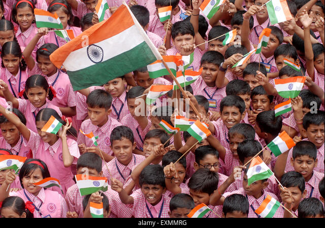 India School Children Flag Stock Photos & India School ...