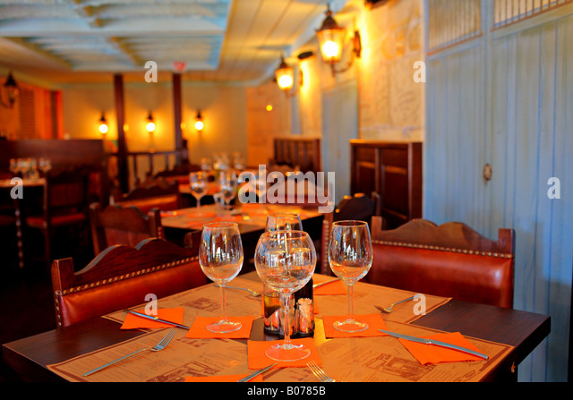 Romantic restaurant interior stock photos