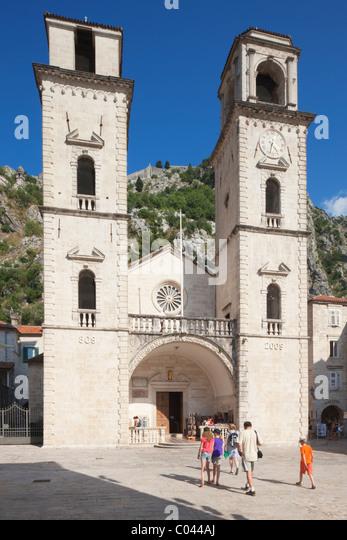 People Walking Into St Tripuns Cathedral Kotor Boka Kotorska Montenegro