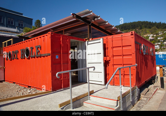 Port Hole Container Bar, Lyttelton, Canterbury, South Island, New Zealand    Stock