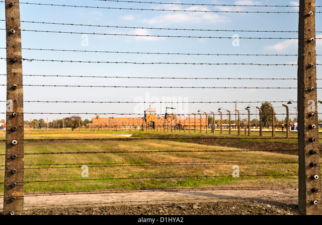Barbed Wire Fences Farm Buildings At The Museum Of Former Auschwitz To Design Decorating