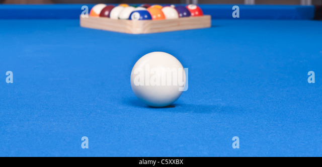 Setting Up The Pool Ball Table With Billiard Triangle For First Shot    Stock Image