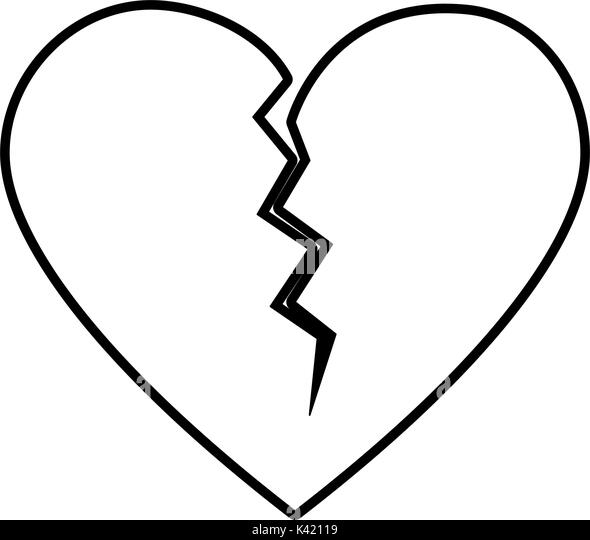 Broken Heart Drawing Black and White Stock Photos & Images ...
