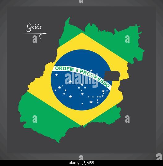 Goias map with Brazilian national flag illustration - Stock Image