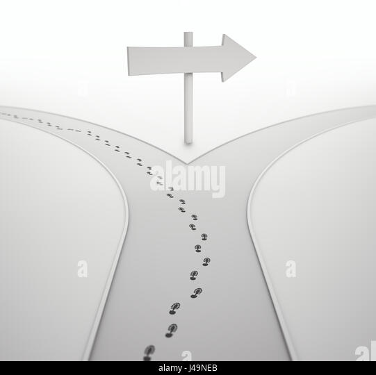 On the crossroads - individuality concept 3D illustration - Stock Image