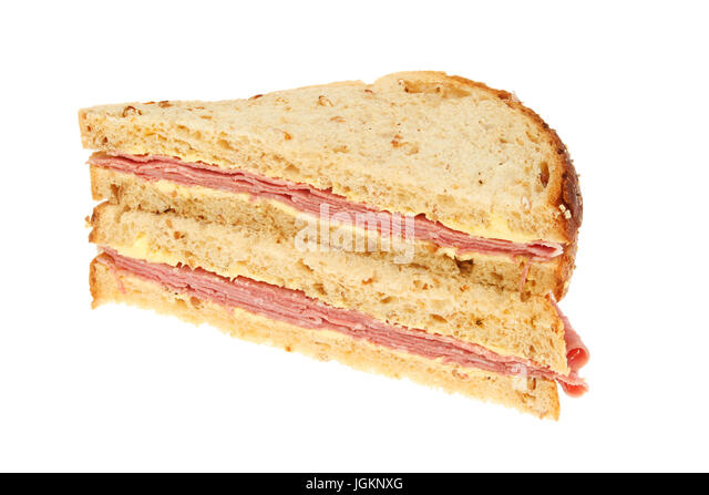 Granary Bread Salt Beef Sandwiches Isolated Against White Stock Image