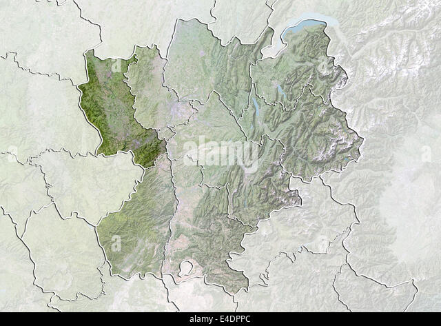 departement of loire france satellite image with bump effect stock