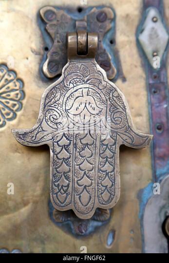Metal Doorknocker Hand Of Faitimah, Marrakech, Morocco   Stock Image