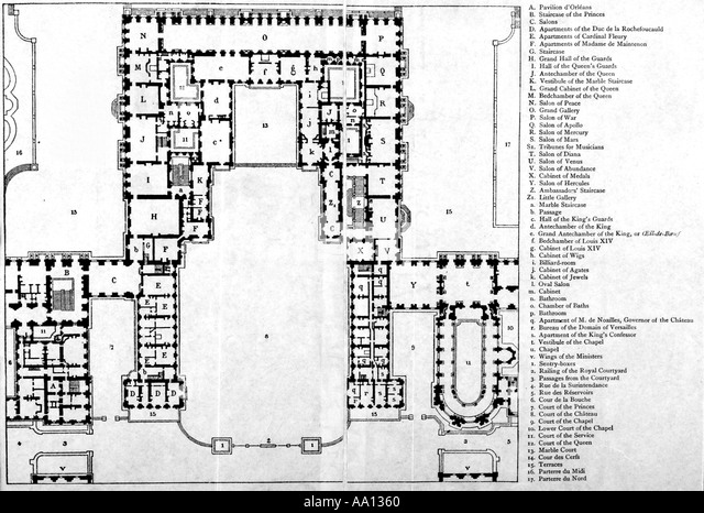 Plan Of First Floor Of Chateau Of Versailles During Reign Of Louis XIV    Stock Image