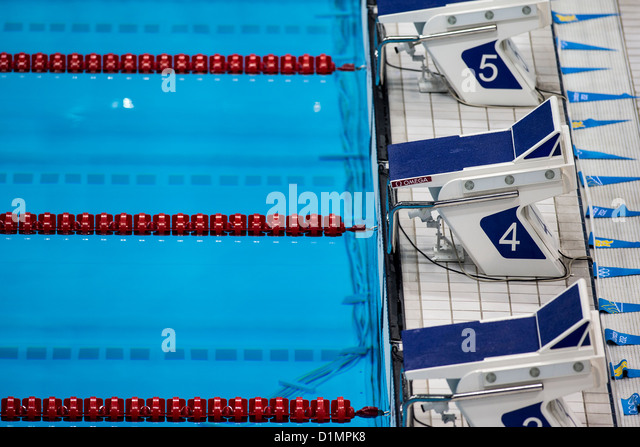 starting blocks at the swimming venue at the olympic summer games london 2012 stock
