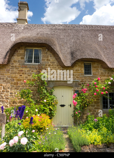 Detail Of Thatched Cottage Cotswolds Gloucestershire England