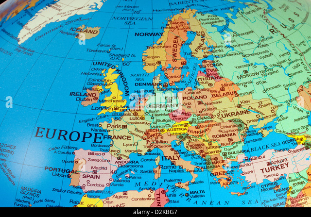 European Countries Map Stock Photos European Countries Map Stock - Map of the globe with countries