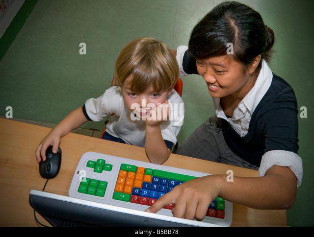 Kindergarten Classroom Boy Girl Stock Photos & Kindergarten ...