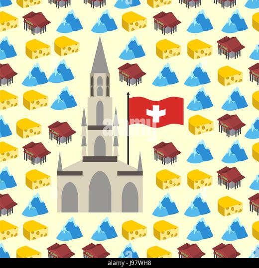 Switzerland seamless pattern of symbols of country. Banks and Alps, cheese and Bern Cathedral. Vector background. - Stock Vector