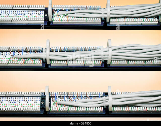 rear view of a patch panel with wires - Stock Image  sc 1 st  Alamy : patch panel wiring - yogabreezes.com