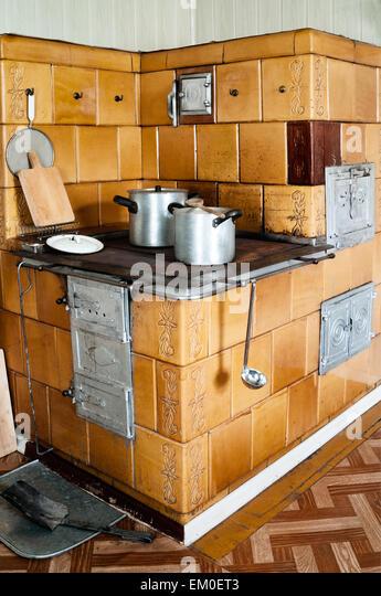 Old Fashioned Kitchen Hob ~ Aluminium pots stock photos images
