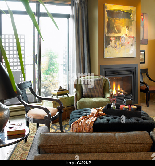 Living Room With Fireplace And Sliding Doors: Condo Living Stock Photos & Condo Living Stock Images