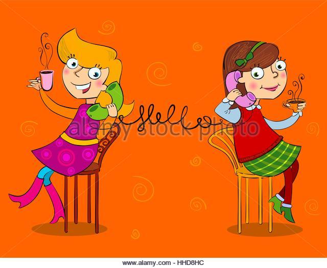 Two cartoon girls talking