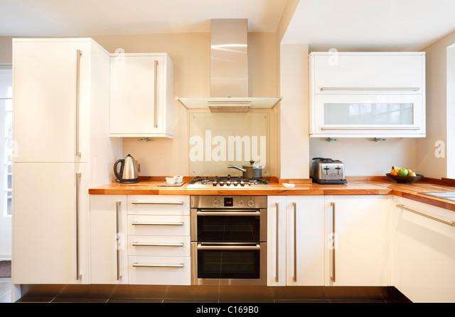 White Kitchen Units Wood Worktop wooden kitchen units stock photos & wooden kitchen units stock