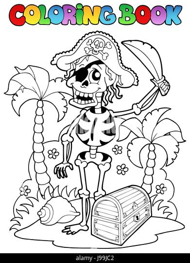 colour paint skeleton painted pirate colouring book danger