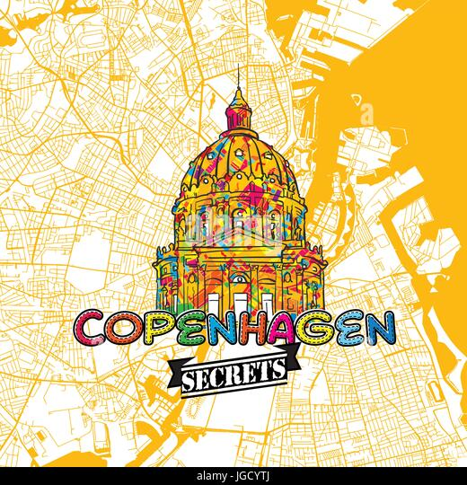 Copenhagen Travel Secrets Art Map for mapping experts and travel guides. Handmade city logo, typo badge and hand - Stock Image