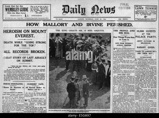 Image result for 1924 everest expedition - mallory and irvine - newspapers
