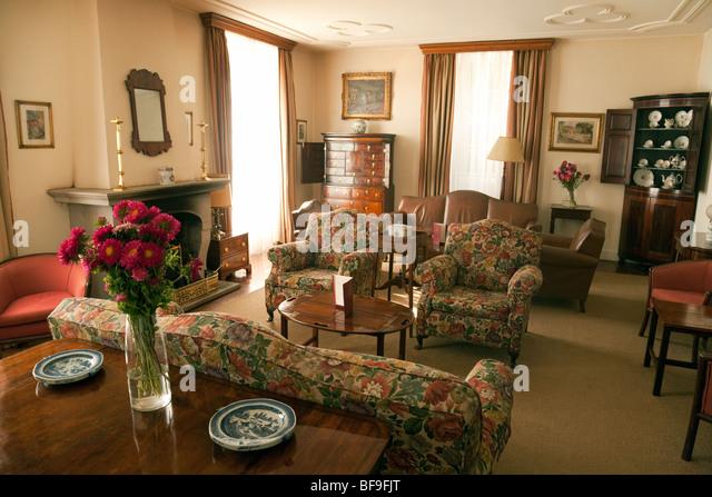An Empty Hotel Lounge Furnished With Regency Furniture, Quinta Da Bela  Vista Hotel, Funchal