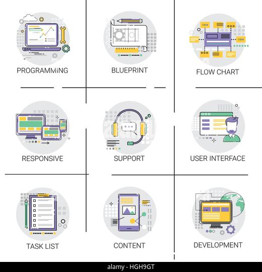 Website blueprint thin line vector stock photos website software application interface development computer programming device technology content icon set stock image malvernweather Choice Image