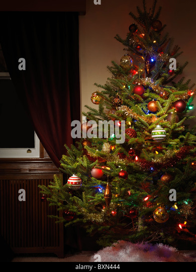 Real Christmas Tree Decorated Stock Photos Real