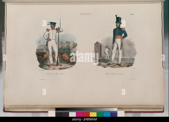 Amboine.- Soldat de la Milice Malaise; Officier de la garde bourgeoise (NYPL b13624459-1266920) - Stock Image