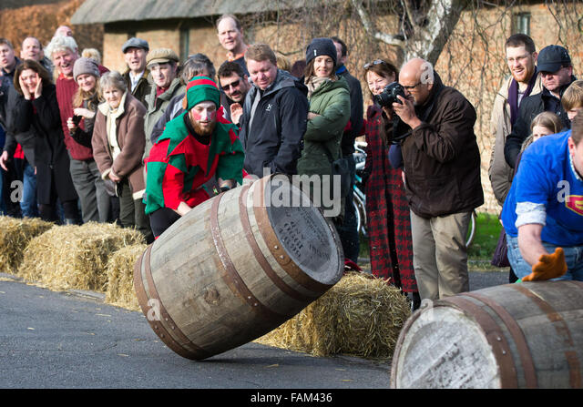 Competitors trying to control their barrel in the annual boxing day