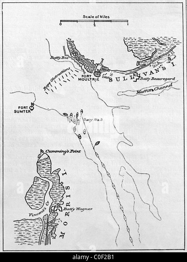 Map Showing Fort Sumter And Fort Moultrie 1909 1914 South Carolina Charleston Harbor Area