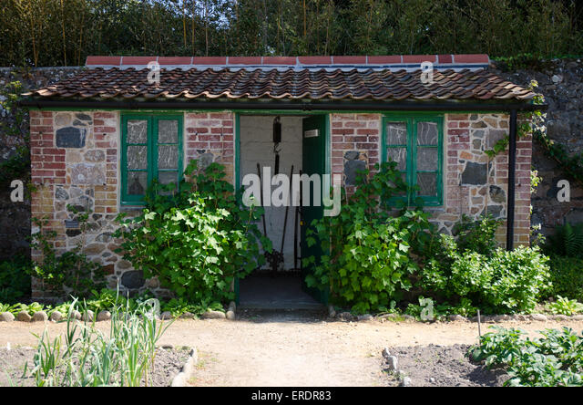 Charmant Brick Built Garden Shed In A Garden At The Victorian Walled Garden Guernsey    Stock Image