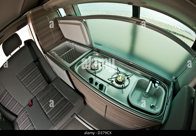 Kitchen Area And Passenger Seating In The VW California Campervan Southampton UK 07