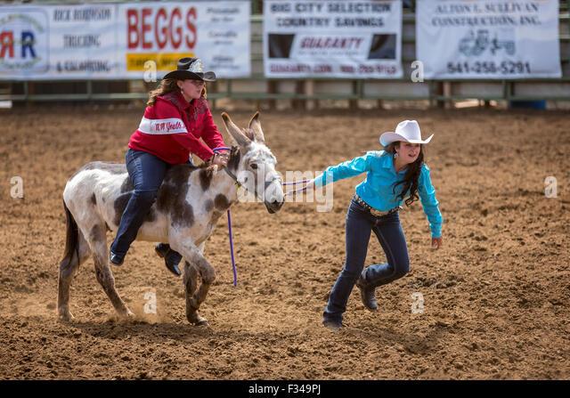 At rodeo barrel race cody nite rodeo cody wyoming usa