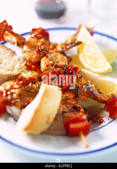 Close Up Of Prawn Piri Piri On Skewers Stock Image