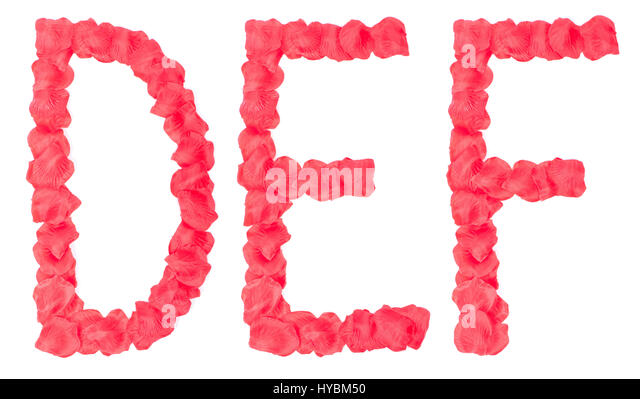 rose petals as letter isolated on white background stock image