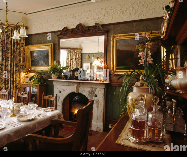 Victorian fireplace in english victorian stock photos for Victorian dining room