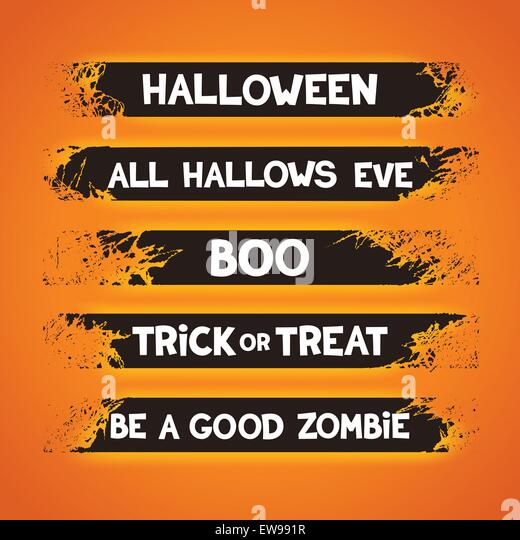 grunge ribbons set with slogans for halloween holidays vector eps 10 stock image - Halloween Slogans