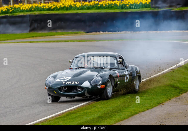 1963 Jaguar E-Type Lightweight with driver Alexander Rittweger during the Graham Hill Trophy race at Goodwood GRRC - Stock Image