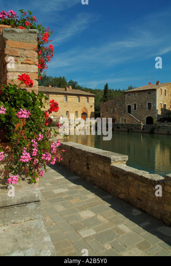 bagno vignoni and thermal spa water pool tuscany italy eu europe stock image