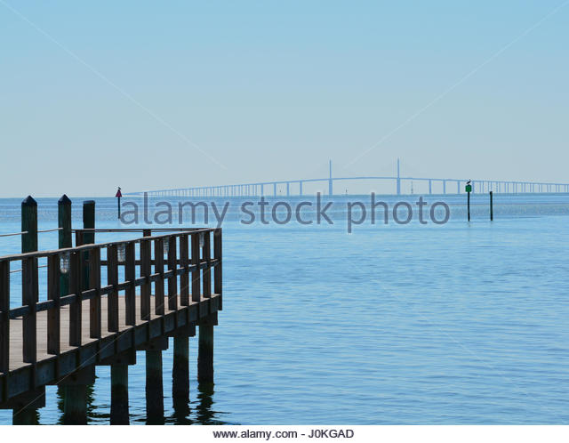 Fishing pier tampa stock photos fishing pier tampa stock for Sunshine skyway fishing pier