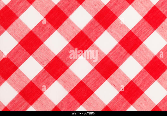 Large Red And White Checkered Table Cloth Background.   Stock Image