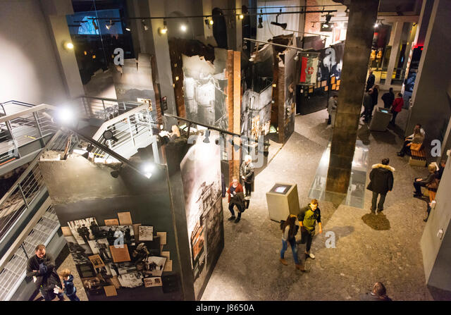 Interior of the Warsaw Rising Museum, dedicated to the uprising of its citizens against Germany in 1944, during - Stock Image