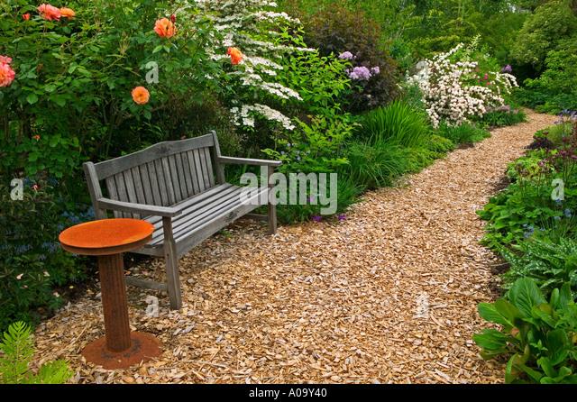 Wood Chip Gardening ~ Wood chip garden stock photos