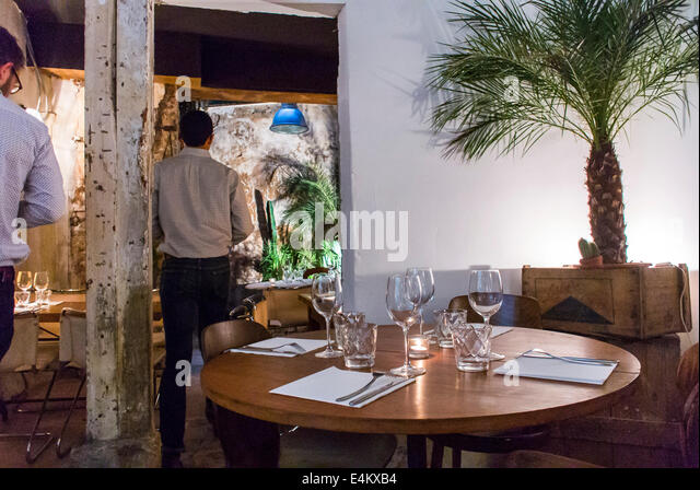 Paris France Table At American Restaurant Inside Dining Room Floyds Bar And
