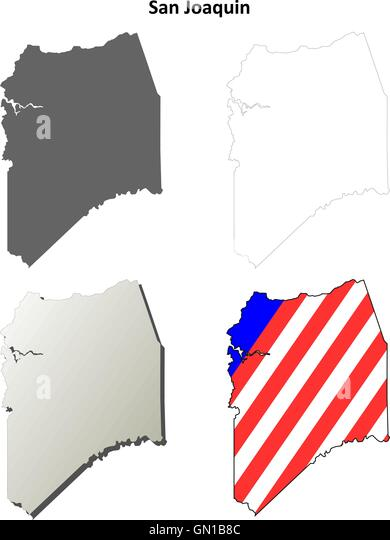 San Joaquin County California Outline Map Set Stock Image