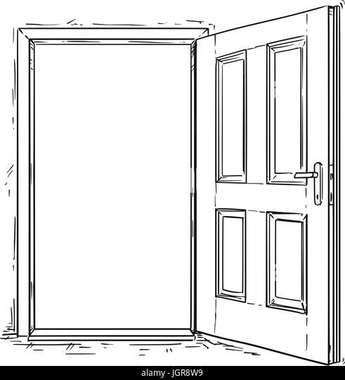 Line Drawing Door : The open door cartoon stock photos